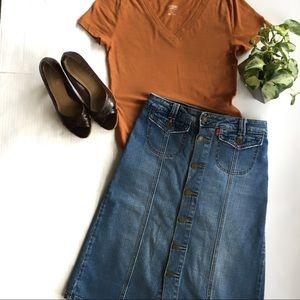 LEVIS A Line Button Down Front Denim Skirt